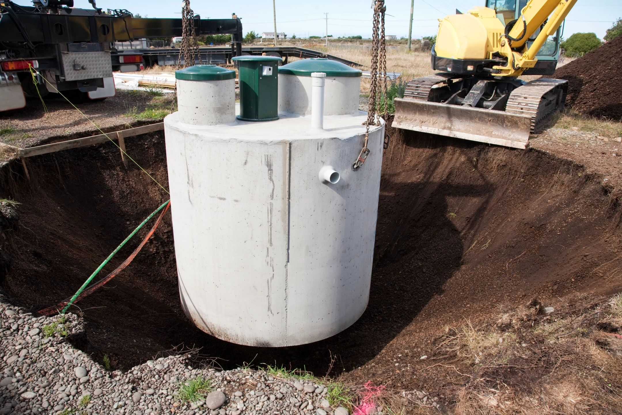 A septic system tank